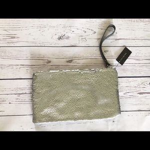 NWT The Limited | Matte Gray Sequin Wristlet